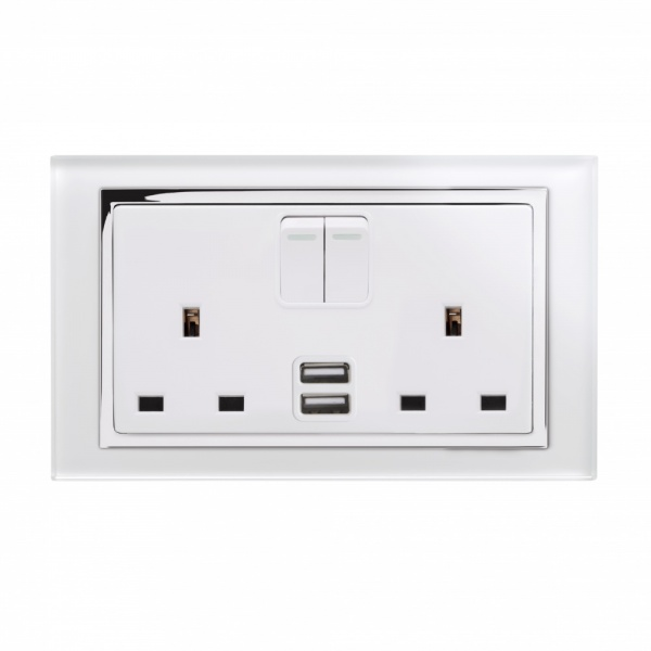 Crystal Ct 2 1a Usb Amp 13a Dp Double Plug Socket With